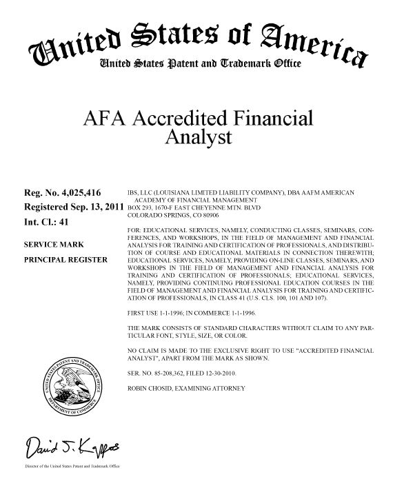 Trademarks Academy Finance Management Certified Financial