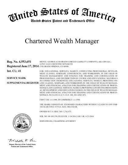 Chartered Wealth Manager Trademark Copyright
