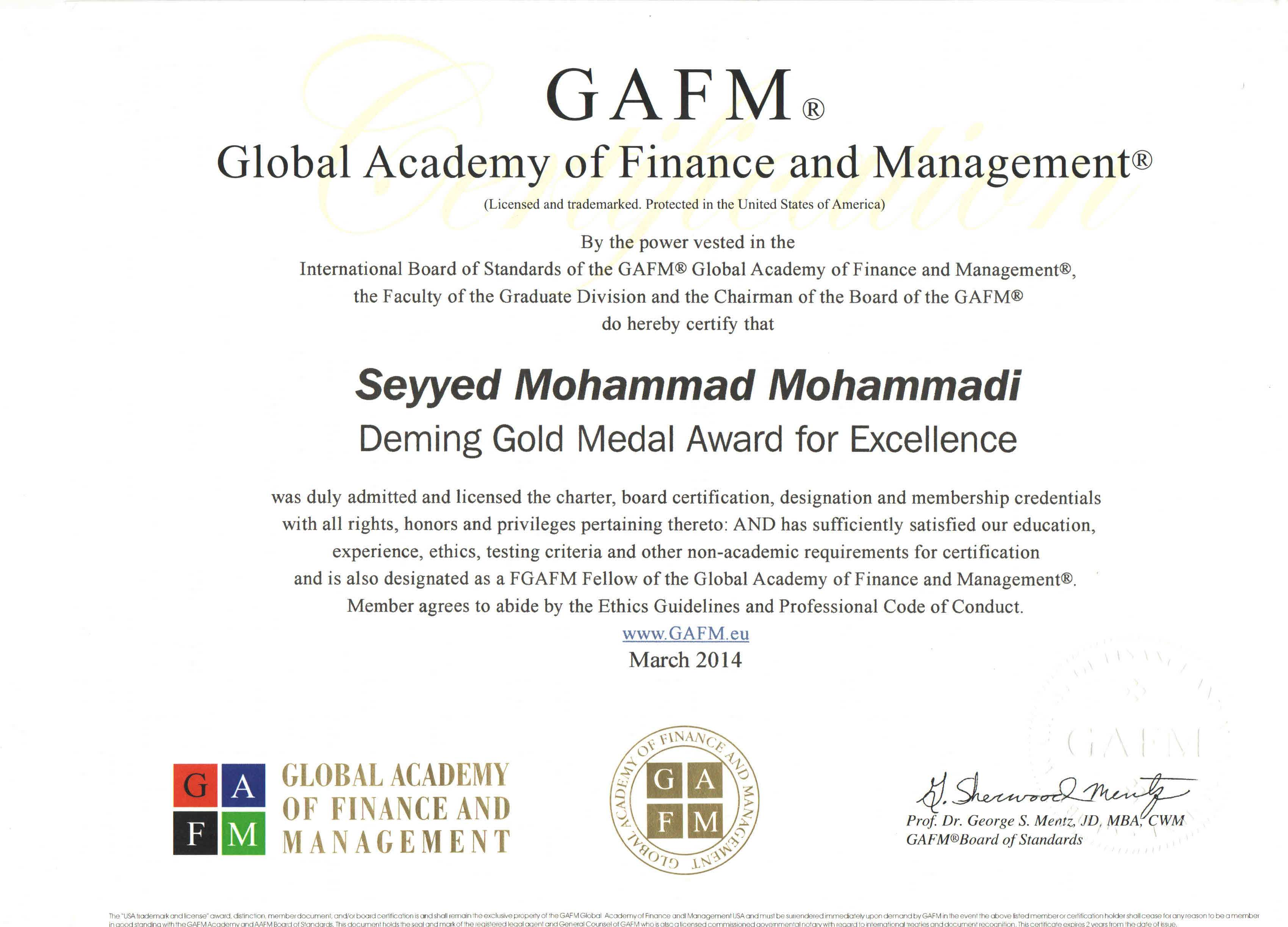 Awards Academy Finance Management Certified Financial Analyst